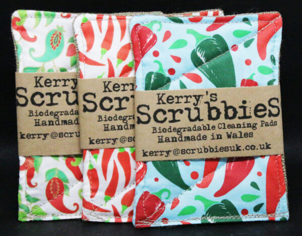 1 x Chili Themed Scrubbies : Unspounge Biodegradable cleaning pads
